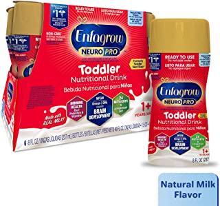 Enfagrow NeuroPro Next Step Toddler Ready to Feed Non-GMO Milk Drink - Natural Milk Flavor, 8 fl oz (6 count) - Omega 3 DHA, MFGM, Prebiotics, Irons, Vitamins (Packaging May Vary)