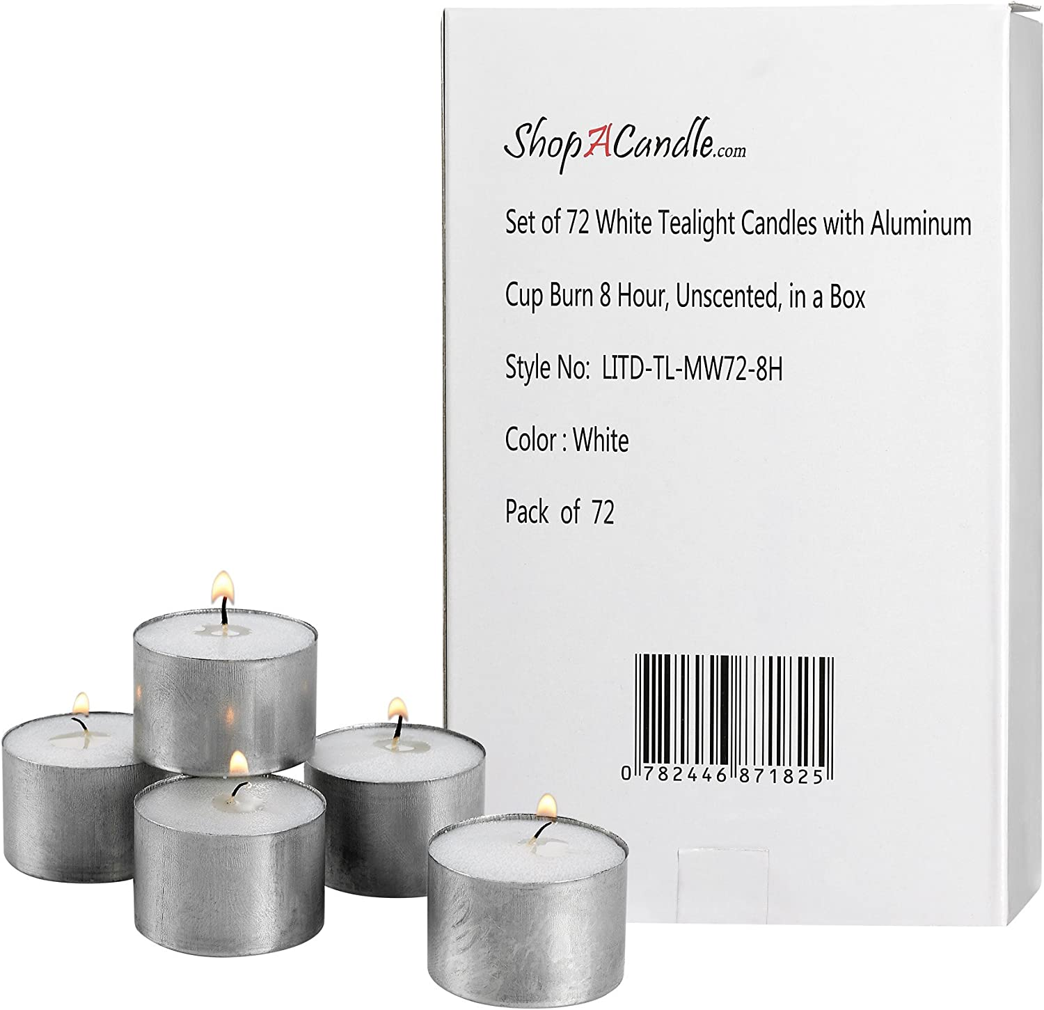 White Tea Light Candles in Metal Louisville-Jefferson County Mall Cups 72 - of Unscented Pack Fresno Mall