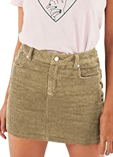 4543947ca17 just quella Women Slim fit Corduroy A-line Short Skirt High Waist Boydon  Mini Skirt