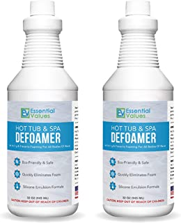 Essential Values 2 Pack Hot Tub, Pool & Spa Defoamer (32 OZ) – Quickly Removes Foam Without The Use of Harsh Chemicals, Eco-Friendly & Safe with Silicone Emulsion Formula