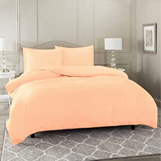 Nestl Bedding Duvet Cover 3 Piece Set – Ultra Soft Double Brushed Microfiber Hotel Collection – Comforter Cover with Button Closure and 2 Pillow Shams, Peach - Queen 90