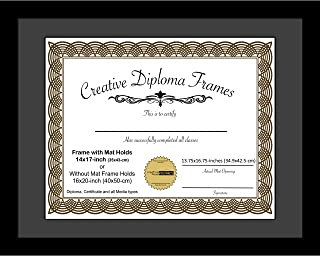 CreativePF [1620bk-b] Satin Black Large Diploma Frame with Black Mat Holds 14x17-inch Documents with Glass and Installed Wall Hanger