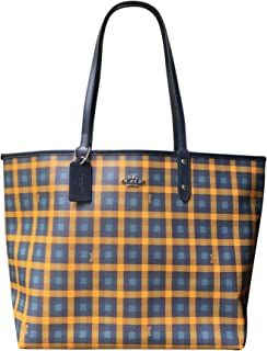 Gingham Printed Coated Canvas and Smooth Leather Reversible City Tote Bag