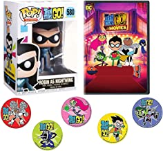 Night Robin Wing & Beast Boy Teen Titans Cartoon Go to the Movies Pack Raven Starfire, Cyborg, Terra characters + Funko Pop Figure & Stickers