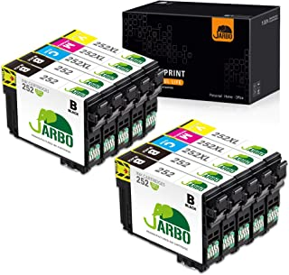 JARBO Remanufactured Ink Cartridge Replacement for Epson 252XL 252 XL T252 T252XL to use with Workforce WF-3640 WF-3620 WF-7110 WF-7710 WF-7720 Printer (4BK, 2C, 2M, 2Y) 10 Packs