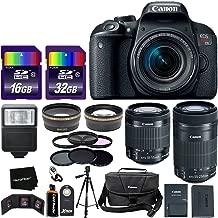 Canon EOS Rebel T7i Digital SLR Camera International Version + 18-55mm STM Lens + 55-250mm STM Zoom Lens + Telephoto & Wide Lenses + Canon Case + Flash + ND & UV Filter Set + 48GB SD Memory + Tripod