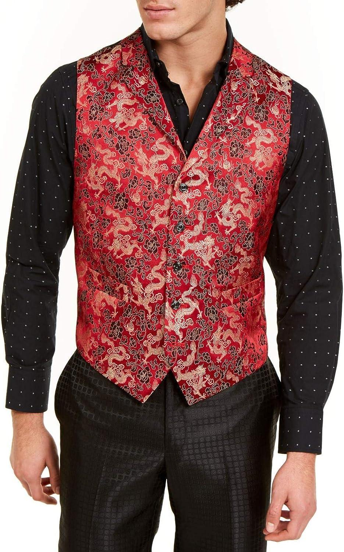 Tallia Mens Suit Separate Regular Vest Dragon Slim Fit Red 44