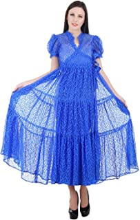 Devaleena Creations Blue Net-Tier style Anarkali-for Ladies