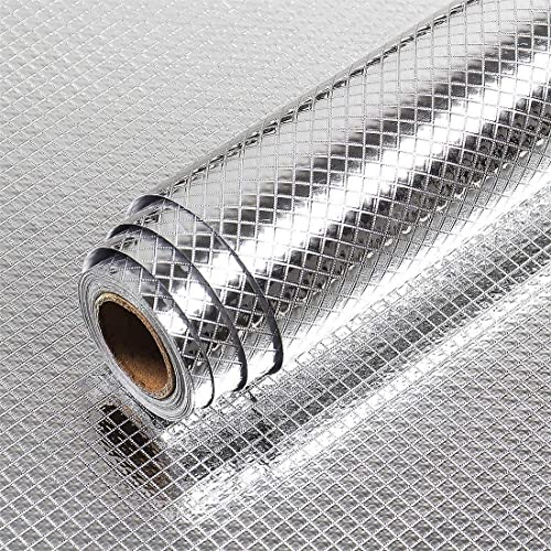 JENY Kitchen Oil Proof Waterproof Sticker Aluminum Foil Kitchen Stickers Self Adhesive Wallpaper Backsplash Stainless Steel Silver Contact Paper Metal for Home Appliances 3 Meter