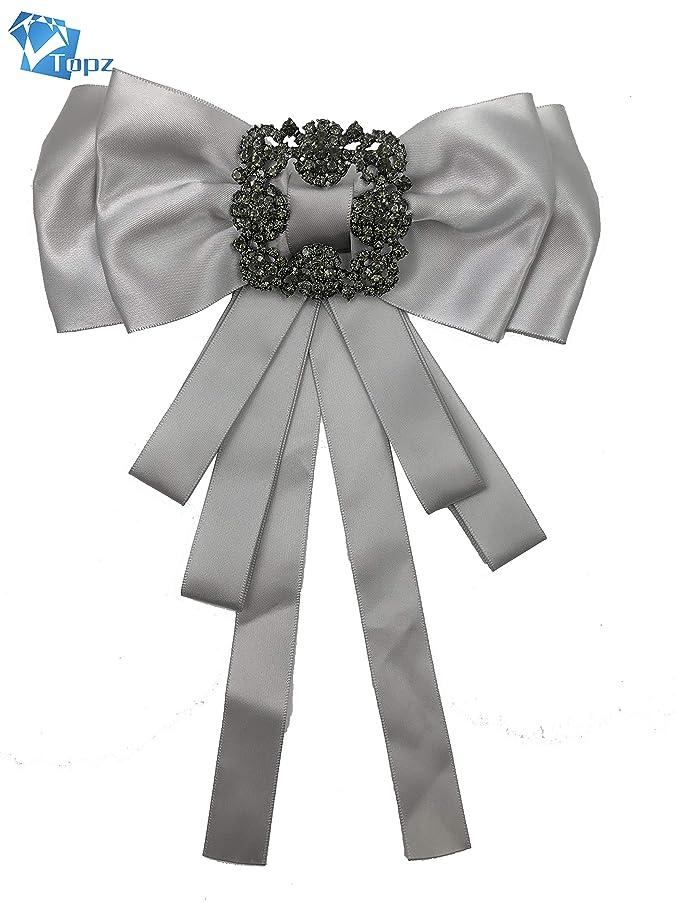 Rhinestore Crystal Dangle Wedding Party Bow Tie Women/Men Ribbon Pre Tied Neck Tie Adustable Brooch Pin Clip (grey/SR118)