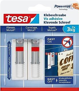 tesa® Verstelbare plakschroef voor tegels en metaal, zonder sporen te verwijderen, houdkracht tot 3 kg, set van 2, bevat 4...