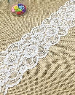 comprar comparacion Yulakes - Puntilla de encaje de color blanco, encaje con flores para cinta de decoración en bodas, artesanía, puntilla dec...