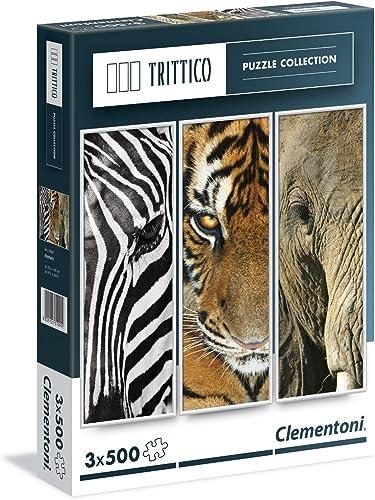 Clementoni 39307.7 - Trittico, 3x500T Tiere, Klassische Puzzle