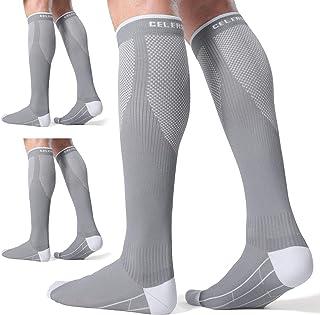 CelerSport 3 Pairs Compression Socks for Men and Women 20-30 mmHg Running Support Socks
