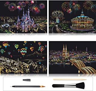 Outus 4 Pieces Scratch Paper Art Kit Rainbow Painting Sketch Pad DIY Scratchboard Scratch Off Art for Adults and Kids