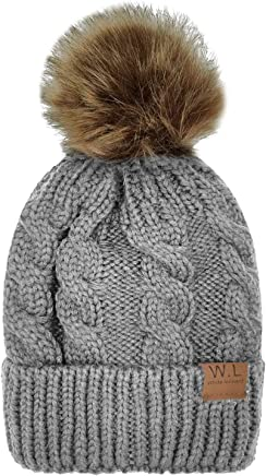 3de4da9d07a227 Whiteleopard Kid Beanie Hats Lining Pom Pom for Children -Slouchy Cable Knit  Toddler Skull Hat