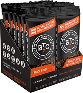 Better Than Coffee Energy Bars - Gluten Free, Vegan, Low Sugar, Low Carb with Added Plant Protein, 100 mg Caffeine Energy Bars - French Roast (12 count)