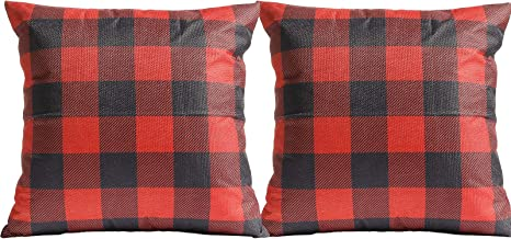 SANMADROLA Buffalo Check Plaid Throw Pillow Covers Set of 2 Farmhouse Decorative Throw Pillow Cover Square Pillowcase 18x1...