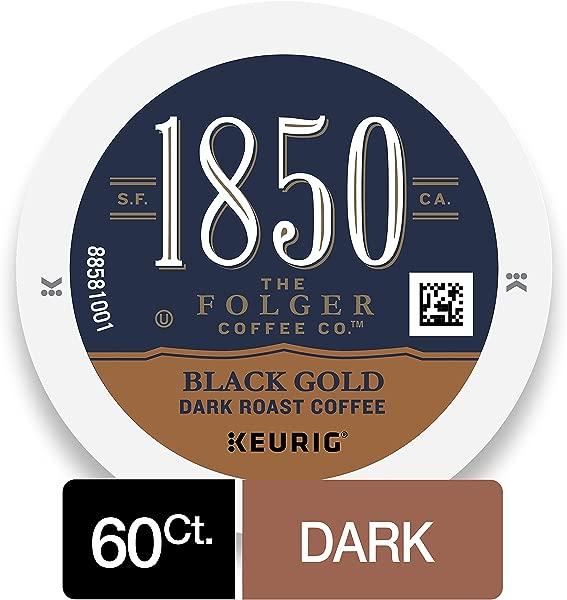 Keurig Makers 1850 黑色金色深烤咖啡 K 杯 10 支装 6 支装