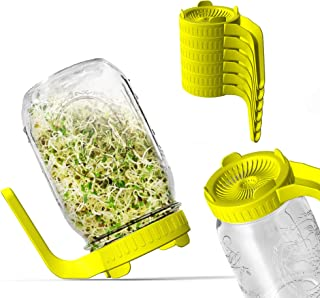 Sprouting Lids, Plastic Sprout Lid for Wide Mouth Mason Jars, Easy Rinse and Drain Sprouting Screens for Growing Bean Spro...