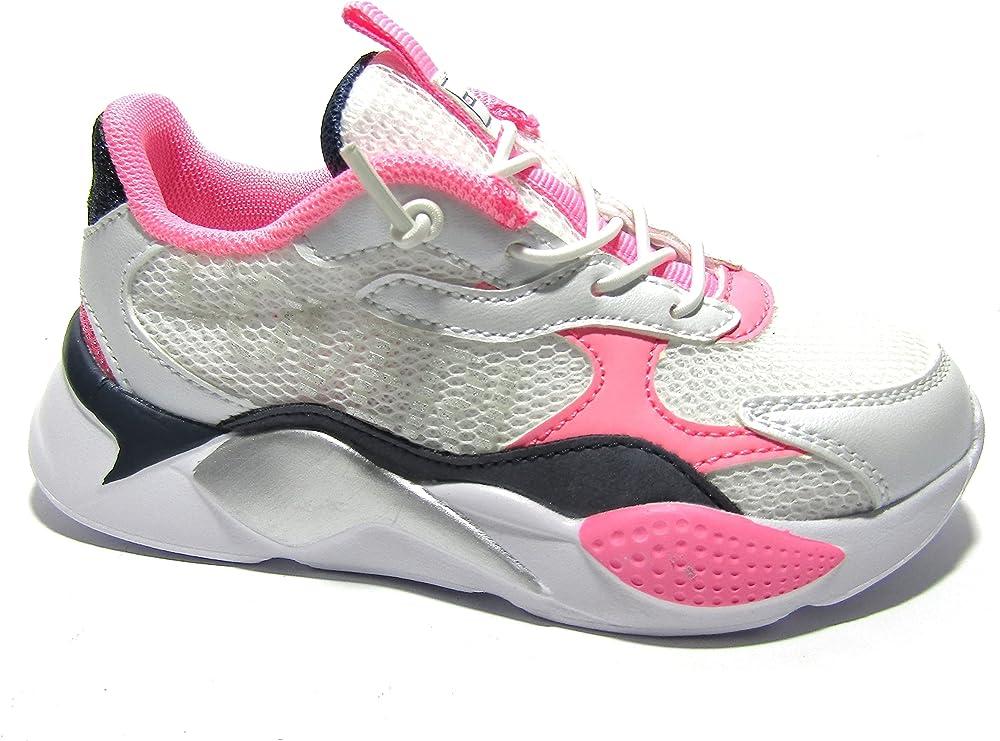 Enrico coveri, scarpe sneakers per bambina/ragazza, in eco pelle e tessuto