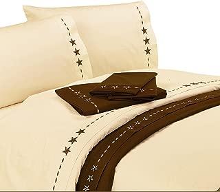 HiEnd Accents Embroidered Star Western Sheet Set, Queen, Cream