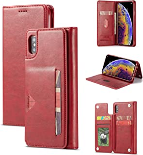 SAVYOU Case for iPhone Xs Max Wallet Series [Folio Cover][Stand Feature] Premium iPhone Xs Max Credit Card Flip Protective Case PU Leather Wallet with Card Slot Side Pocket Magnetic Closure - Red