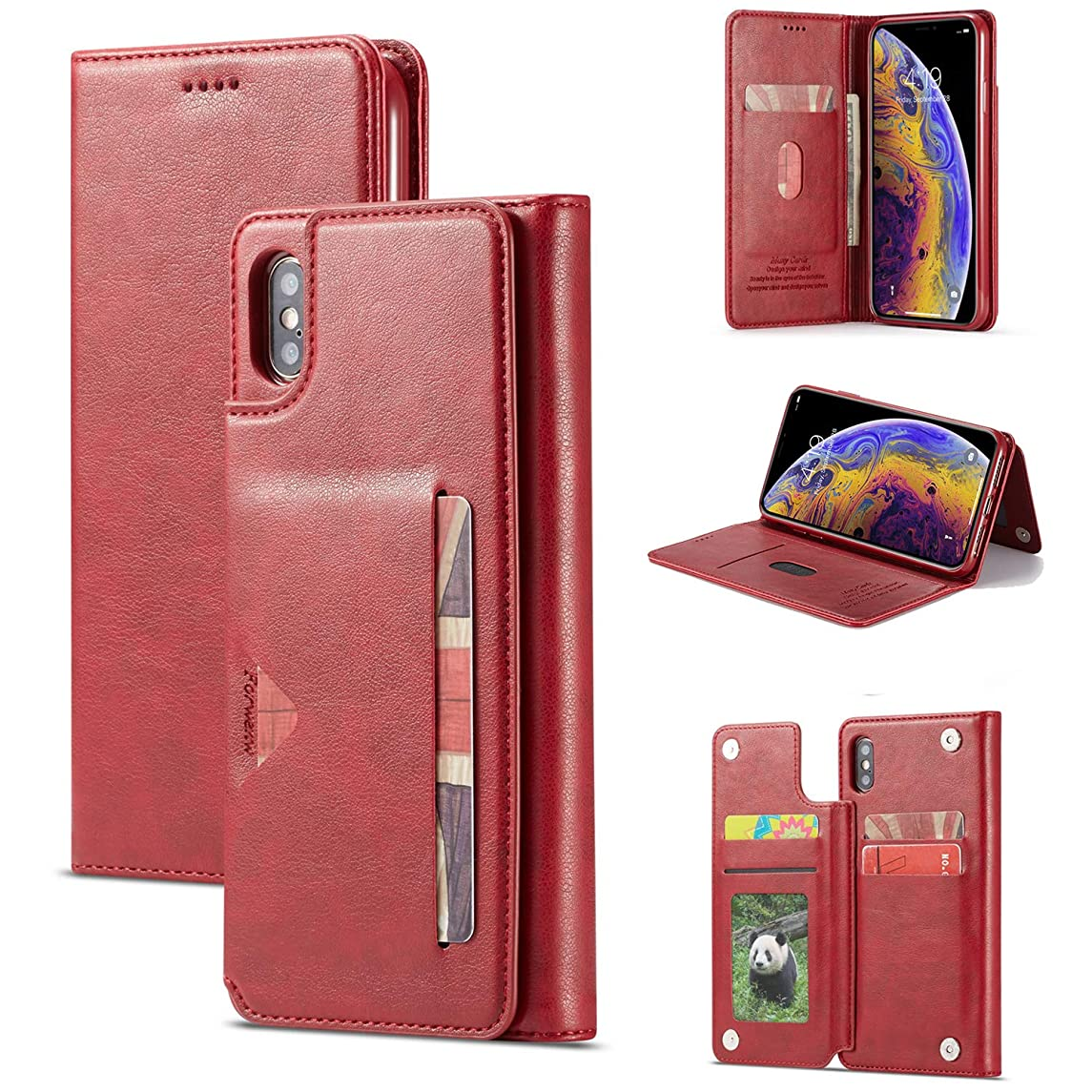 SAVYOU Case for iPhone X Xs Wallet Series [Folio Cover][Stand Feature] Premium iPhone Xs Credit Card Flip Protective Case PU Leather Wallet with Card Slot + Side Pocket Magnetic Closure - Red