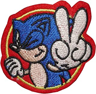 2 pieces SONIC THE HEDGEHOG Iron On Patch Applique Embroidered Motif Comics Cartoon Decal 2.5 x 2 inches (6.5 x 5 cm)