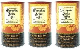 Trader Joes Pumpkin Spice Ground Coffee - Pack of 3 Jars - 14 oz Per Jar - Medium Dark Roast With Natural Spices - 100% Arabica Ground Coffee - 2019 Limited Edition (3 Jars, 42 oz Total)