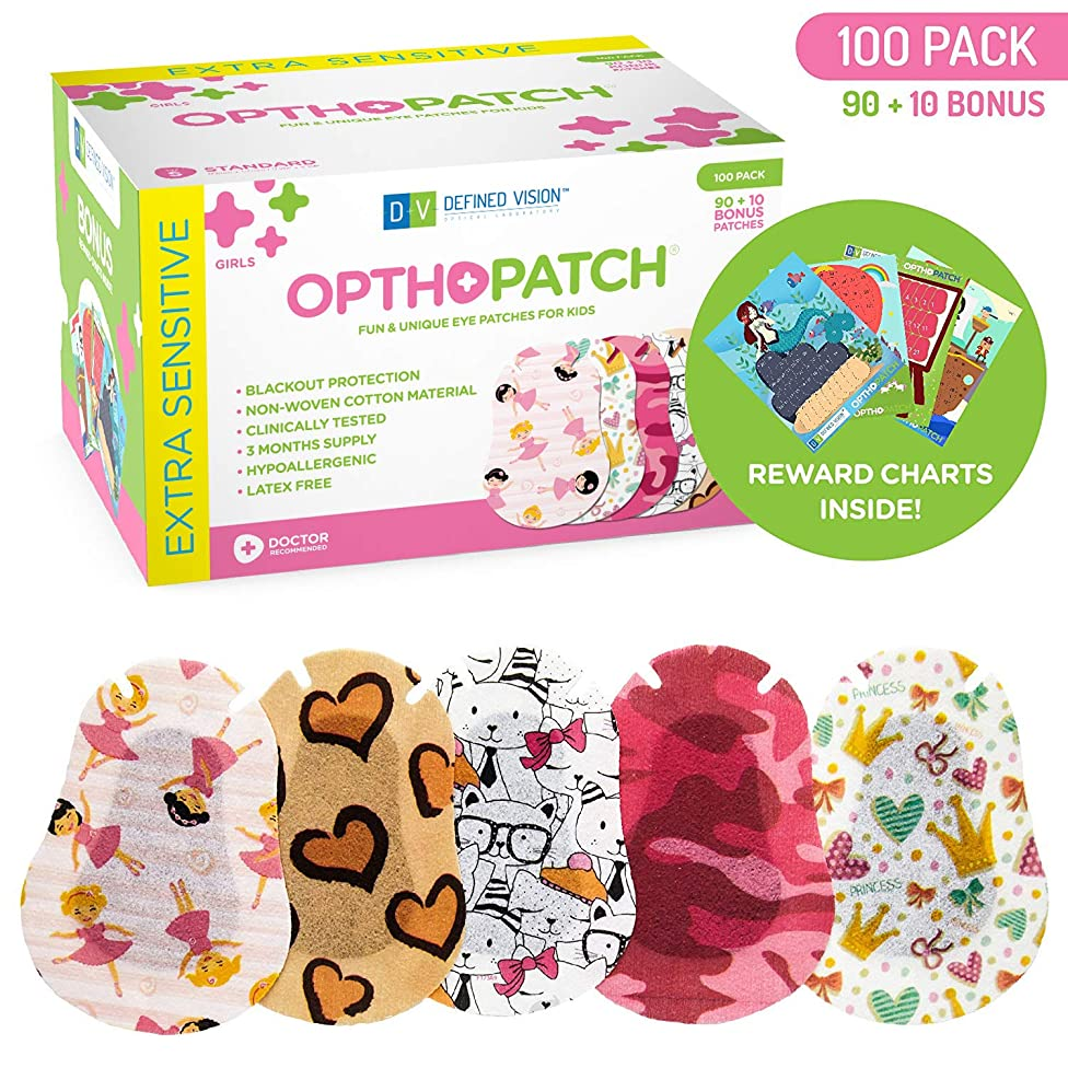 Kids Eye Patches - Fun Girls Design - 90 + 10 Bonus Latex Free Hypoallergenic Cotton Adhesive Bandages For Amblyopia and Cross Eye - 3 Reward Chart Posters - Optho-Patch by Defined Vision