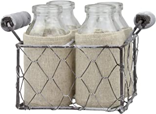 Stonebriar Milk Bottle with Caddy, Set of 4