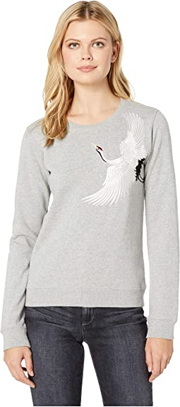 Embroidered Crane Pullover Sweatshirt