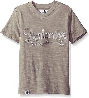 AKADEMIKS Kids Little Boys' Short Sleeve Slub Jersey V-Neck Tee, Grey, 5-M