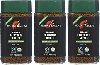 Mount Hagen: Organic Café Decaffeinated Freeze Dried Instant Coffee (3 X 3.53 Oz) (Pack of 3)