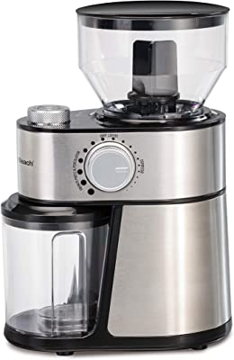 Hamilton Beach Electric Burr Coffee Grinder with Large 16oz Hopper and 18 Settings for 2-14 Cups, Stainless Steel (80385)