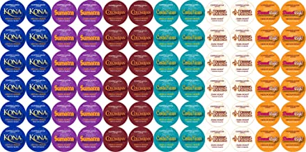 Copper Moon Coffee Single Serve Pods for Keurig 2.0 K-Cup Brewers, Trial Variety Pack (12 Kona Blend, 12 Sumatra Blend, 12 Colombian Blend, 12 Costa Rican Blend, 12 French Roast, 12 Donut Cafe) 72 Count