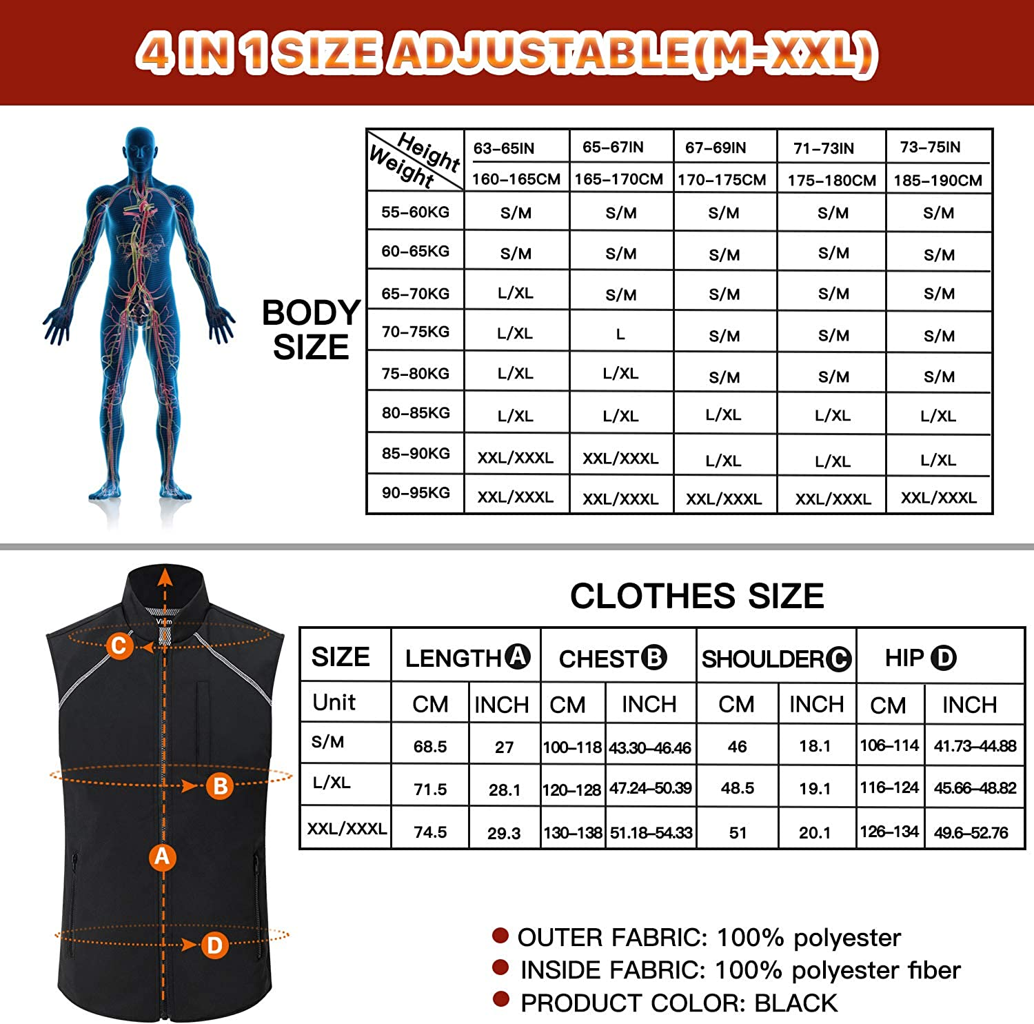 Vinmori USB Heated Vest Heating Clothing For Men Women (Not Include Battery)