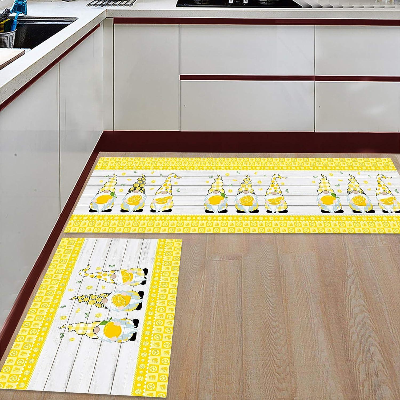 Lemon Raleigh Mall Gnomes Kitchen Mail order cheap Mats Set Fl 19.7x31.5inch+19.7x63inch of 2