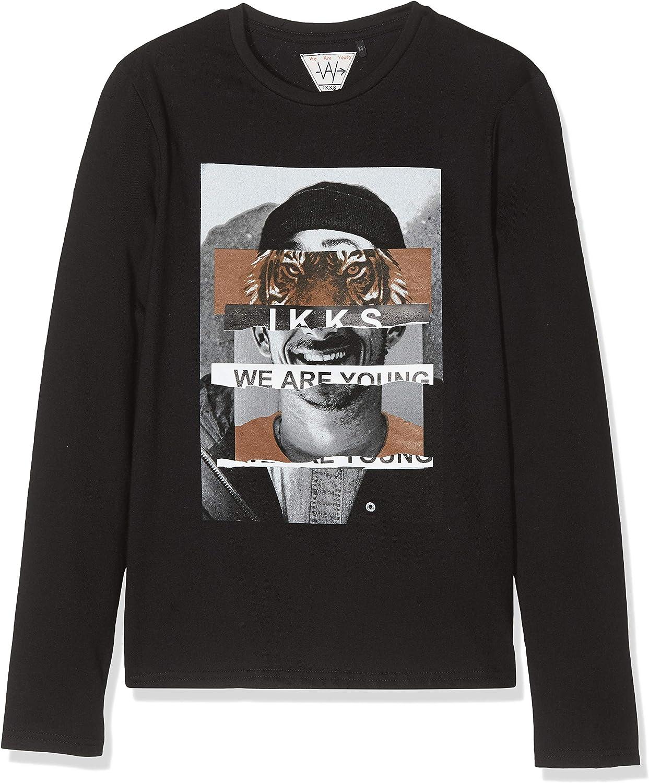 IKKS Junior tee Shirt Ml A Damier, Lion Et Skate Camiseta para Niños