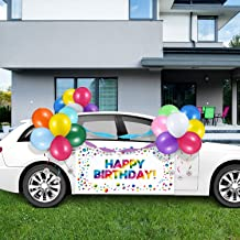 Rainbow Birthday Parade Car Decorations Kit, Happy Birthday Car Banner with Rope, Colorful Latex Balloons, Happy Birthday ...