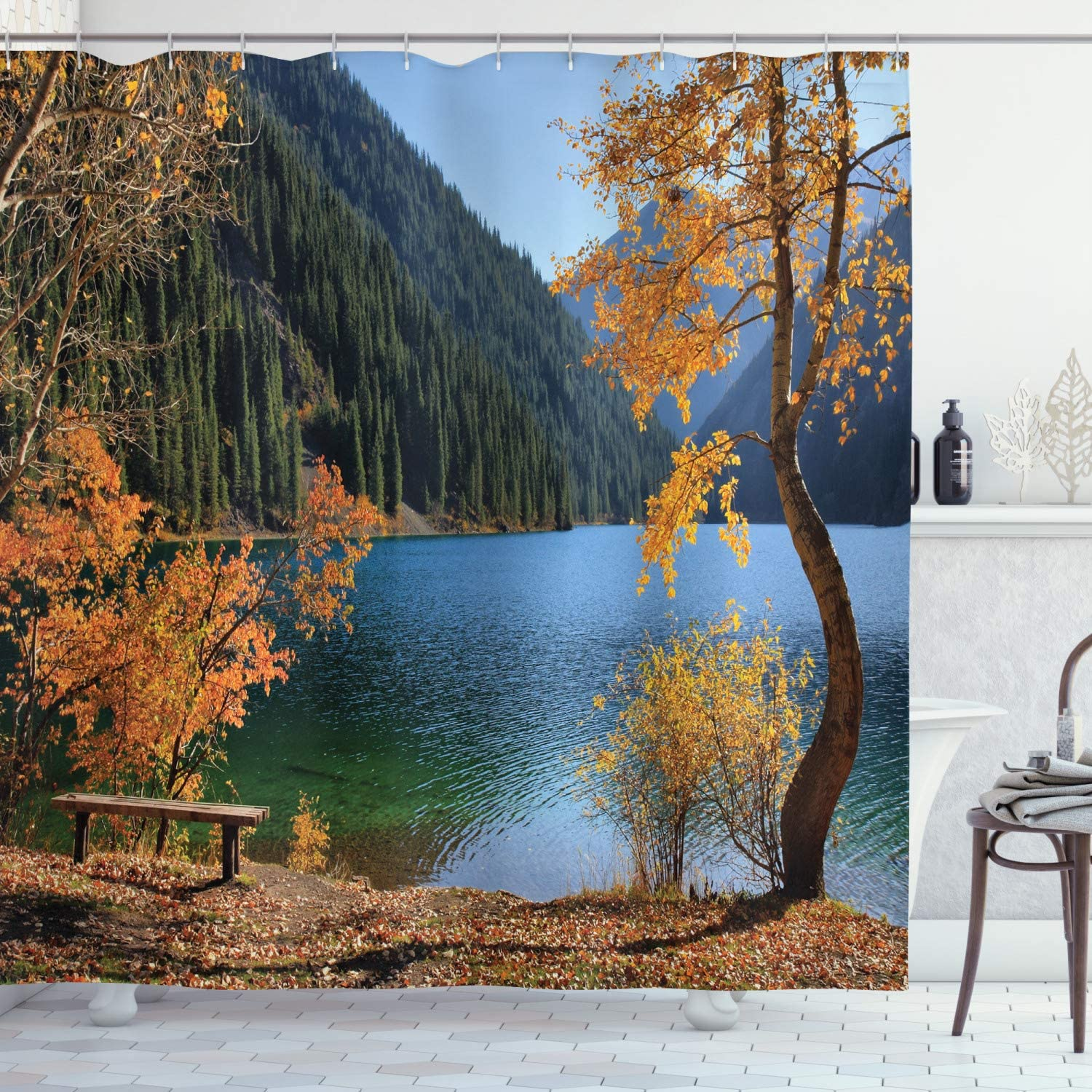 Amazon Com Ambesonne Tree Shower Curtain Autumn Season By Lake And Mountain Nature Theme Fall Trees In The Wilderness Cloth Fabric Bathroom Decor Set With Hooks 75 Long Orange Green Home Kitchen