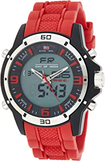 Sport Men's US9534 Analog-Digital Watch With Red Rubber Band