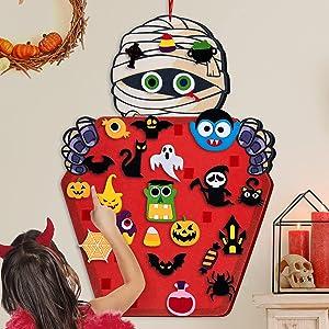 D-FantiX DIY Halloween Felt Mummy Set , Door Wall Hanging Felt Craft Kits for Kids with 50pcs Adhesive Ornaments ,Halloween Party Games Indoors Outdoors