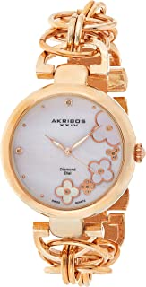 Akribos XXIV Women's Ornate Analogue Display Quartz Watch with Alloy Bracelet