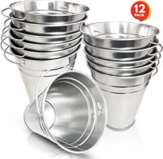 ArtCreativity Large Galvanized Metal Buckets with Handles - Set of 12-5 Inch Metallic Pails - Rustic Wedding Decorations, Centerpieces for Party, Decorative Ice Buckets, Vase, Garden Planters