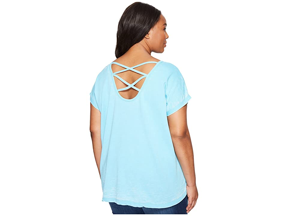 Allen Allen Plus Size Double Cross Back Tee (Beach) Women's T Shirt