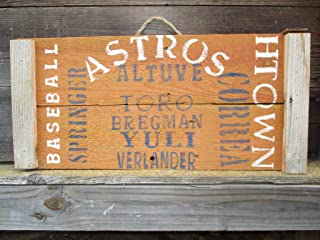 Vintage look HOUSTON ASTROS Altuve Springer Correra Yuli Toro Bregman Verlander Baseball H-Town jute hanger antique style primitive style. weathered wood sign