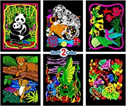 Stuff2Color Panda, Kitten, Dragon and Knight, Leopards, Humming Bird, Frog - 6 Fuzzy Velvet Coloring Posters