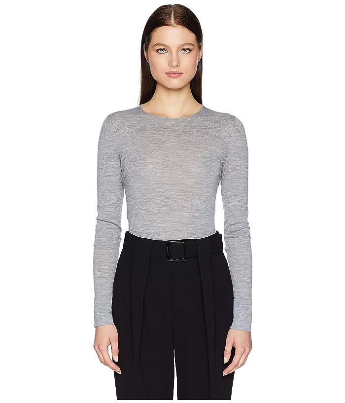 GREY Jason Wu Feather Weight Merino Crew Long Sleeve Sweater (Charcoal Heather) Women